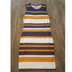 Navy, Gold, & White Striped Cotton Dress